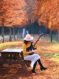 Фото Парки Осенние Гитара Сидящие Шляпа Девушки