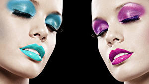 Картинки Губы Лица Мейкап Нос девушка