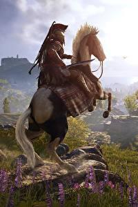 Фотография Лошади Воины Горы Луга Assassin's Creed Odyssey Игры 3D_Графика Природа