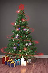 Фотография Праздники Новый год Свечи Стена Елка Шарики Подарки Электрическая гирлянда 3D Графика