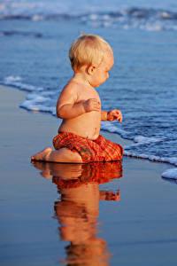 Фотография Берег Волны Грудной ребёнок Мальчики ребёнок