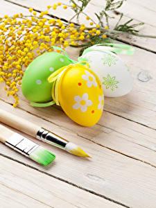 Обои для рабочего стола Праздники Пасха Мимозы Доски Яйца Три