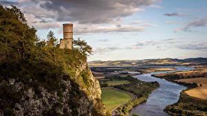 Картинка Шотландия Реки Поля Утес Башни Kinnoull Hill Tower Perth Природа
