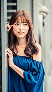 Обои Азиаты Смотрят Боке Шатенки Девушки
