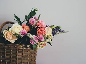 Обои Букеты Серый фон Корзинка Цветы