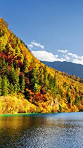 Обои Цзючжайгоу парк Китай Парк Гора Леса Озеро Осень