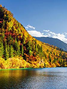 Обои Цзючжайгоу парк Китай Парки Горы Леса Озеро Осень