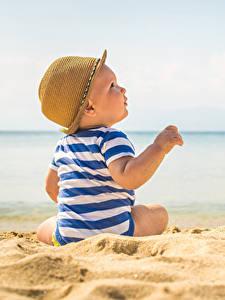 Фотография Пляж Младенцы Шляпа Песок Дети