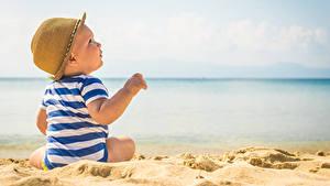 Фотография Пляжа Младенцы Шляпы Песка