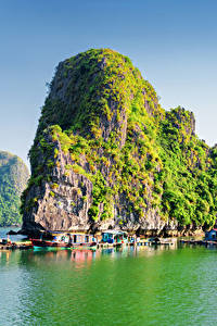 Картинка Вьетнам Пристань Скала Бухта Halong Bay
