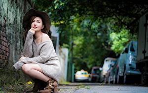 Фотография Азиатка Размытый фон Поза Сидящие Шляпа Шатенки Свитера молодые женщины