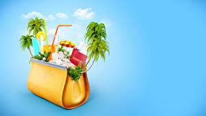 Картинки Сумка Оригинальные Сок Цветной фон Пальмы Стакане Туризм 3D Графика