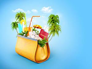 Картинки Сумка Креативные Сок Цветной фон Пальмы Стакане Туризм 3D Графика