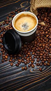 Картинка Кофе Капучино Доски Чашка Зерна Еда
