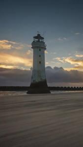Фотография Англия Маяк Вечер Небо Облачно Природа