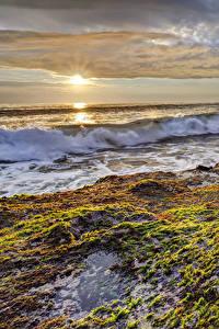 Фото Берег Рассветы и закаты Волны Природа