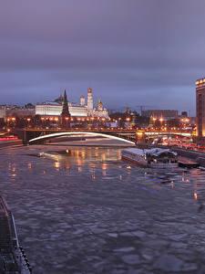Фотография Москва Россия Дома Реки Мосты Вечер Города