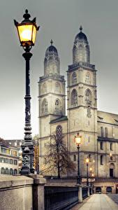 Фотографии Цюрих Швейцария Здания Мосты Забором Уличные фонари