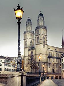 Фотографии Цюрих Швейцария Здания Мосты Забором Уличные фонари Города