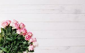 Фото Букет Розы Розовая Шаблон поздравительной открытки