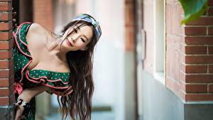 Картинка Азиаты Размытый фон Платья Декольте Волосы Шатенки