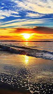 Фотография Пейзаж Побережье Рассветы и закаты Волны Небо Облака Солнце Горизонт Природа