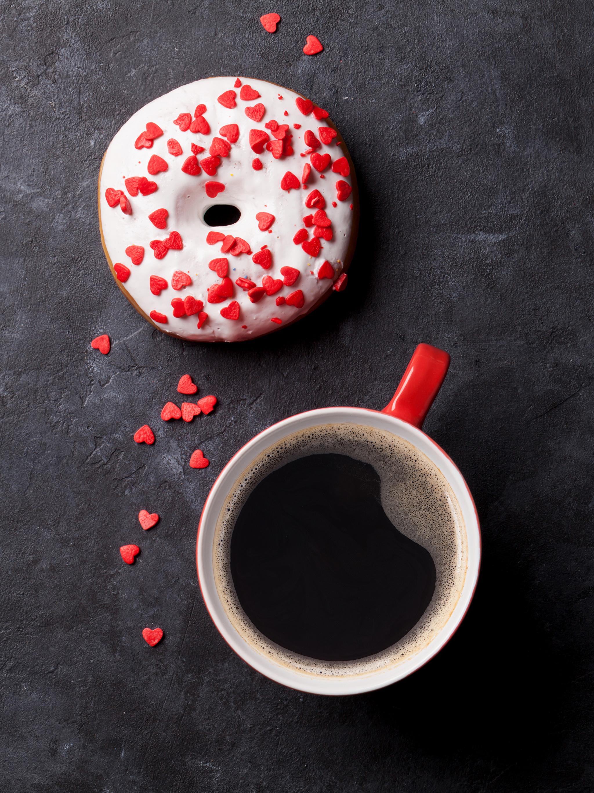 Обои сердечко Кофе Пончики Еда Чашка Сладости 2048x2732 Сердце Пища Продукты питания