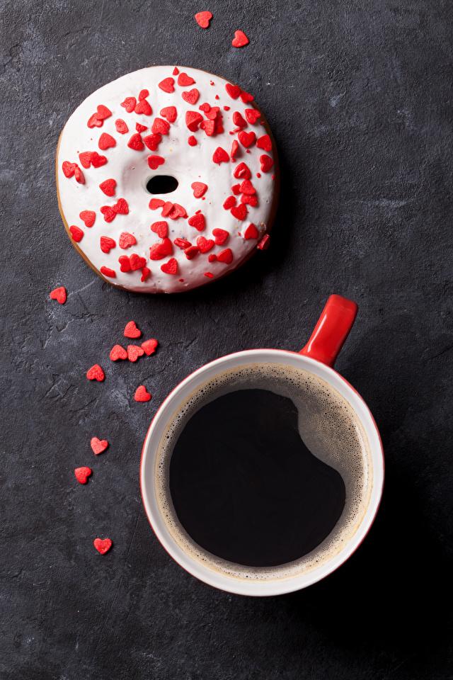 Обои для рабочего стола сердца Кофе Пончики Еда Чашка сладкая еда 640x960 для мобильного телефона серце Сердце сердечко Пища чашке Продукты питания Сладости