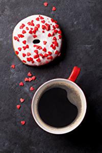 Обои Кофе Пончики Сладости Чашка Сердечко