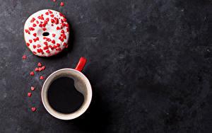 Обои Кофе Пончики Сладости Чашка Сердечко Пища