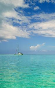 Фотография Французская Полинезия Тропики Море Небо Бора-Бора Облака
