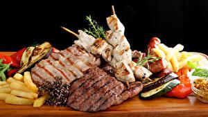 Обои Мясные продукты Шашлык Овощи