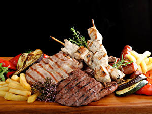 Обои Мясные продукты Шашлык Овощи Еда