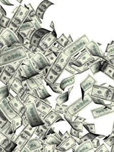 Картинки Деньги Банкноты Доллары Белым фоном 100