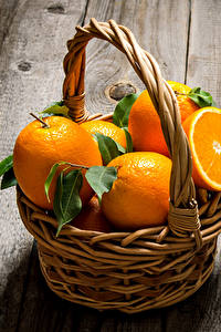 Обои Цитрусовые Апельсин Доски Корзинка Еда