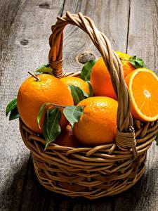 Обои Цитрусовые Апельсин Доски Корзинка
