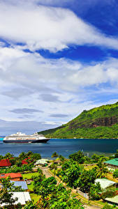 Фотография Французская Полинезия Тропики Горы Побережье Круизный лайнер Облака Moorea
