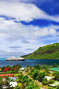 Фотография Французская Полинезия Тропики Гора Побережье Круизный лайнер Облака Moorea Природа