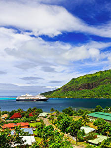 Фотография Французская Полинезия Тропики Гора Побережье Круизный лайнер Облака Moorea