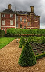 Фотография Англия Дома Лондон Кустов Газоне HDR Ham House and Garden Richmond