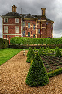 Фотография Англия Дома Лондон Кустов Газоне HDR Ham House and Garden Richmond