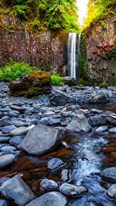 Фото США Водопады Камень Утес Abiqua Falls Oregon Природа