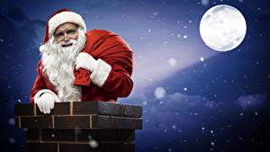 Обои Ночные Луна Санта-Клаус Шапки Борода Chimney