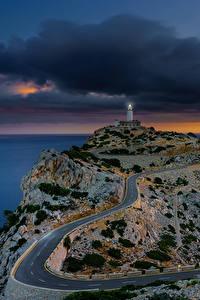 Фото Испания Мальорка Майорка Море Вечер Маяки Дороги Sonnenaufgang Природа