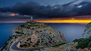 Фото Испания Мальорка Майорка Море Вечер Маяки Дороги Sonnenaufgang