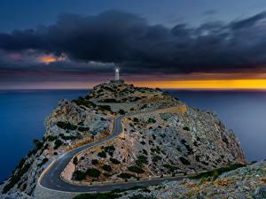 Фото Испания Мальорка Майорка Море Вечер Маяк Дороги Sonnenaufgang