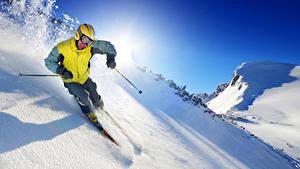 Фото Зима Лыжный спорт Мужчины Снег Очки Спорт