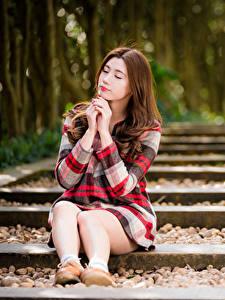 Обои Азиатка Шатенки Сидит Ноги Платья Боке Девушки
