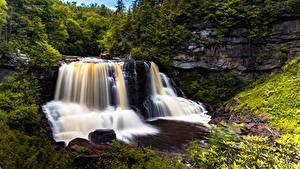 Картинки США Лес Реки Водопады Скалы West Virginia