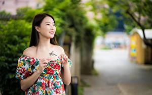 Картинки Азиатки Размытый фон Смотрят Улыбается Руки Очков молодые женщины
